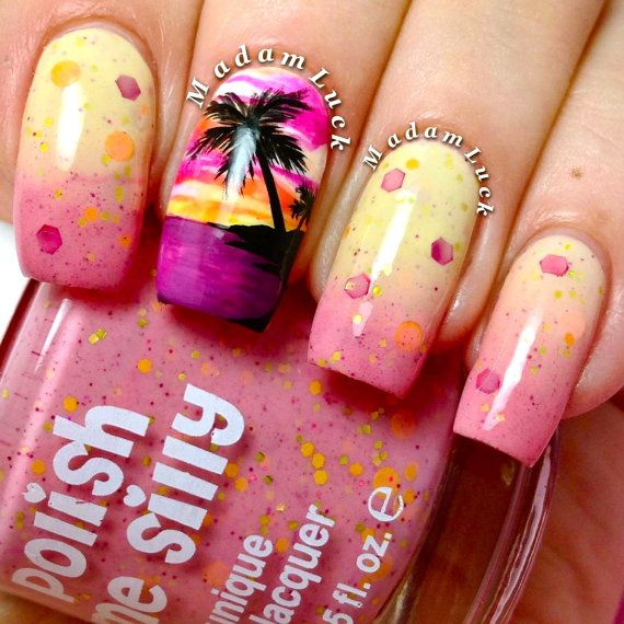 Sizzling Sunset- -Color Changing Thermal Nail Polish:  Custom-Blended Indie Glitter Nail Polish / Lacquer