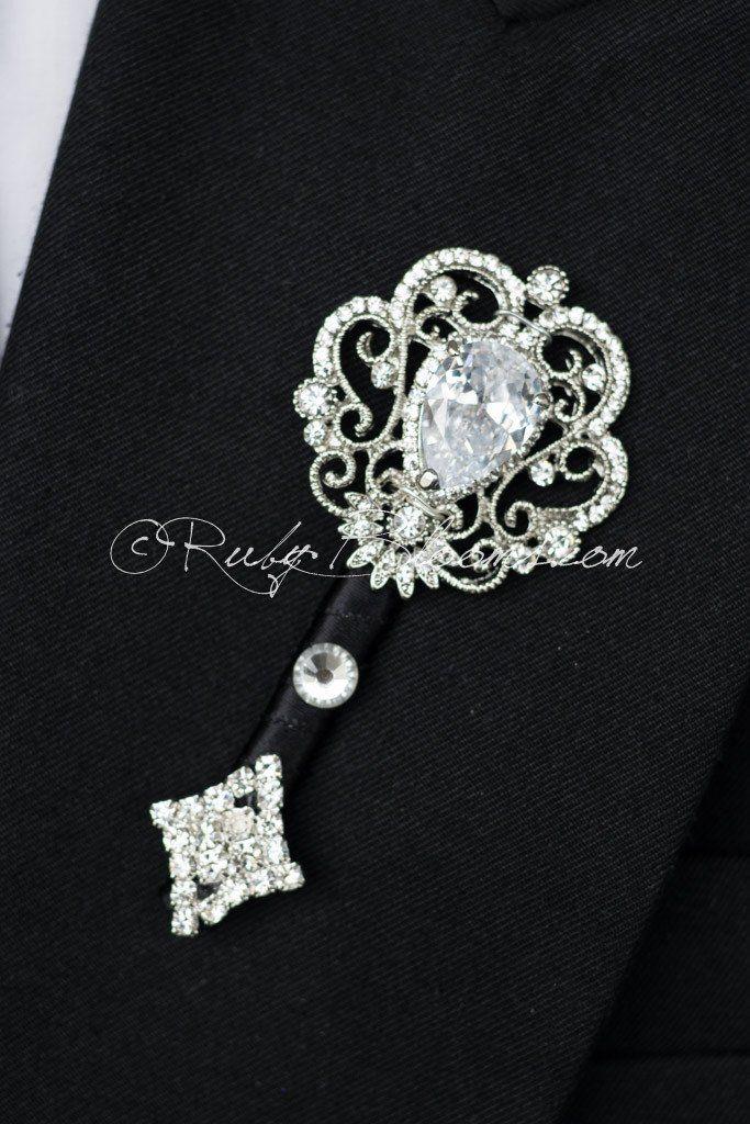 CZ Crystal Black Wedding Brooch Boutonniere Pin #groomsmen #gifts #groomsmengifts #groom #groomsmen #boutonniere #lapel #pin #pins #lapelpins #buttonhole #buttonholepins #groomspin #groomslapelpins #manaccessory #fatherofthebride #fatherofthegroom #weddingaccessory #boutonniere #brooch #broach #prom #ringbearer #crystal #cz #cubiczirconia #zirconia #black #silver