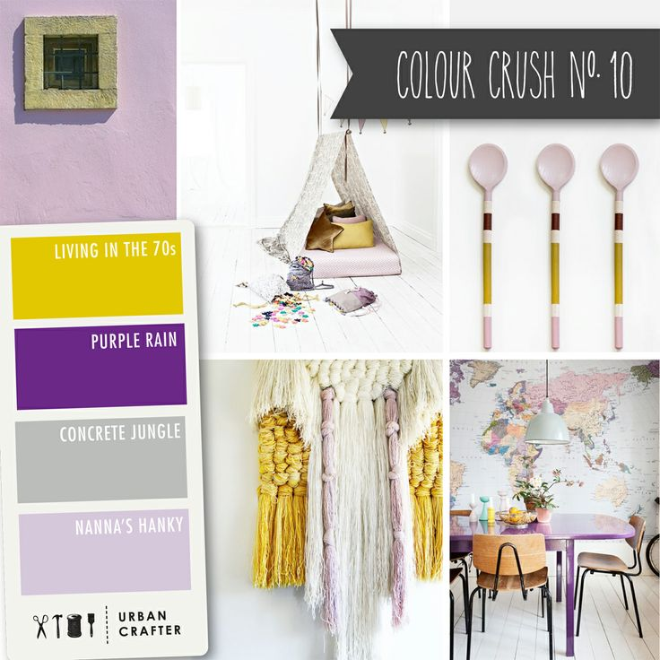 """Urban Crafter Colour Crush Mondays www.urbancrafter.com.au  Colour Crush #10: Get a similar look with Urban Crafter acrylic paints """" Living in the 70s,"""" """"Purple rain,"""" """"Concrete Jungle"""" and """"Nanna's Hankie."""""""