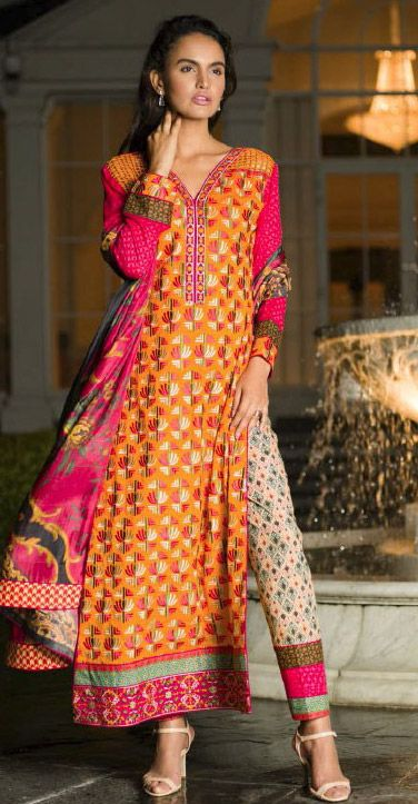 Orange Embroidered Lawn Suit $169.99 DESIGNER LAWN 2014 Pakistani Indian Dresses Online, Men Women Clothing and Shoes | PakRobe.com