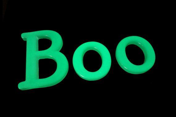 Boo Glow in the Dark Halloween or Childrens by WordosaurusText, $22.00