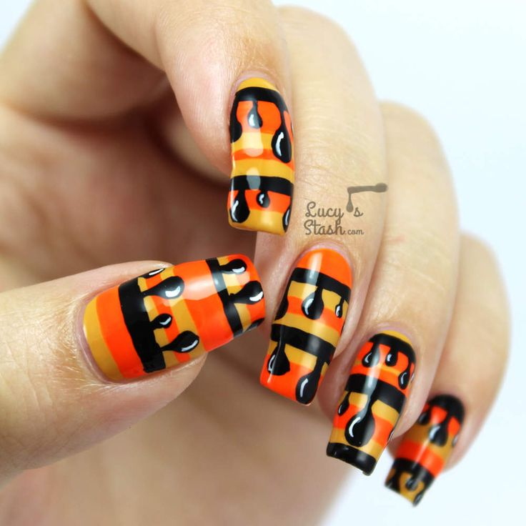 Nailvengers Assemble! - Halloween Drip Nail Art with TUTORIAL ... stripy look in classic Halloween colours and black drippy stripes... using only SpaRitual polishes in Positive Vibe, Solaris, Street Smart and White Light.