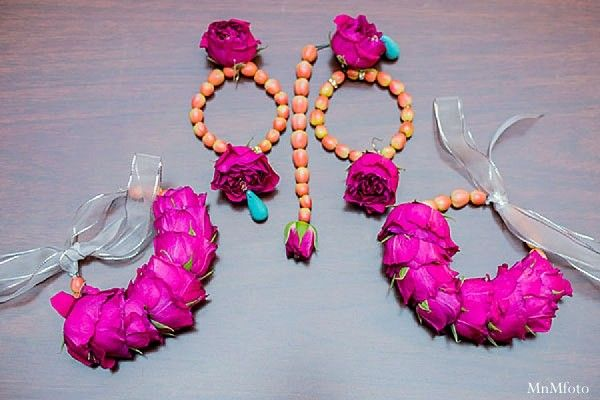 This Pakistani bride opts for gorgeous floral jewelry.