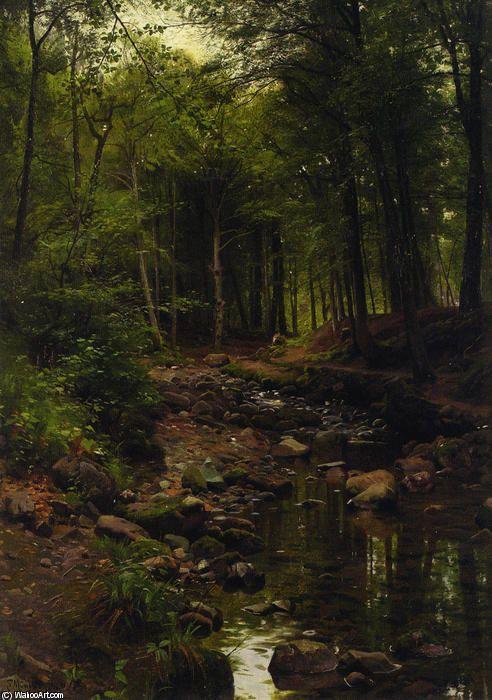 Skovstraekning, Oil by Peder Mork Monsted (1859-1941, Denmark)