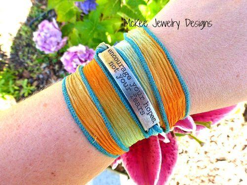 hope,  silk ribbon  bracelet