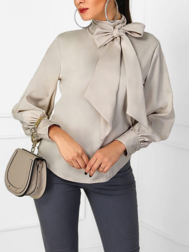 Shop Blouses & Shirts Lantern Sleeve Tied Neck Casual Shirt