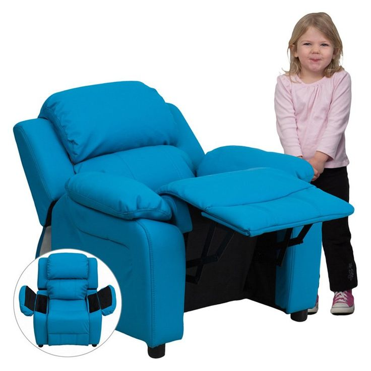 massage chair for kids. deluxe heavily padded vinyl kids recliner with storage arms -- massage chair for