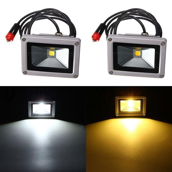 10w 12v Led Flood Spot Lightt Work Lamp With Car Charger Waterproof For Camping Travel Work Lamp Led Flood 12v Led