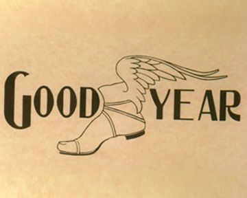 GOODYEAR:  The Goodyear logo was first used in 1901 in the Saturday Evening Post.  Henry Ford used Goodyear tires on his first race car, offered to him by Goodyear co-founder, Frank Seiberling.