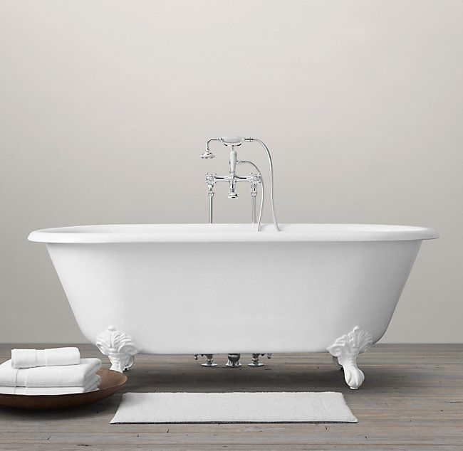 Vintage Imperial Clawfoot Soaking Tub With Floor Mounting Fittings