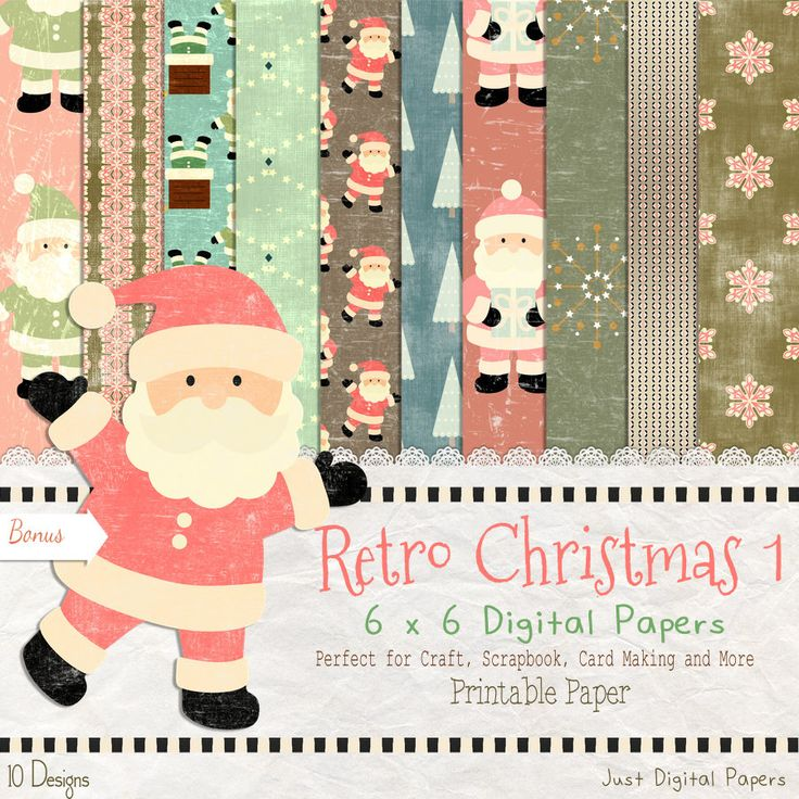 Christmas Paper, Retro Christmas,  paper, Old fashion Paper,  50s Christmas paper, Instant Download, Scrapbook Paper, 6x6 paper by JustDigitalPapers on Etsy