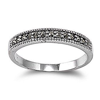 Rhodium Plated Ring With Marcasite Marcasitewedding