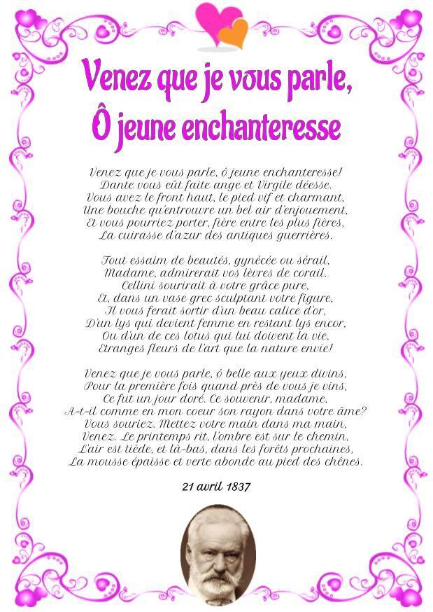 Poesie D Amour Venez Que Je Vous Parle O Jeune Enchanteresse Victor Hugo Words Word Search Puzzle