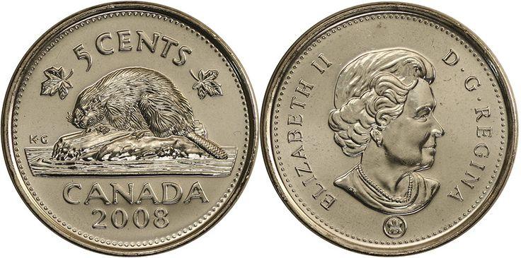 Dólar canadense (1858-em uso)  (x) 5 cents (2003-em uso) O: efígie da rainha Elizabeth II aos 77 anos (rainha desde 1952) e seu nome/R: um castor, o nome do país em inglês e o valor entre duas folhas de ácer;