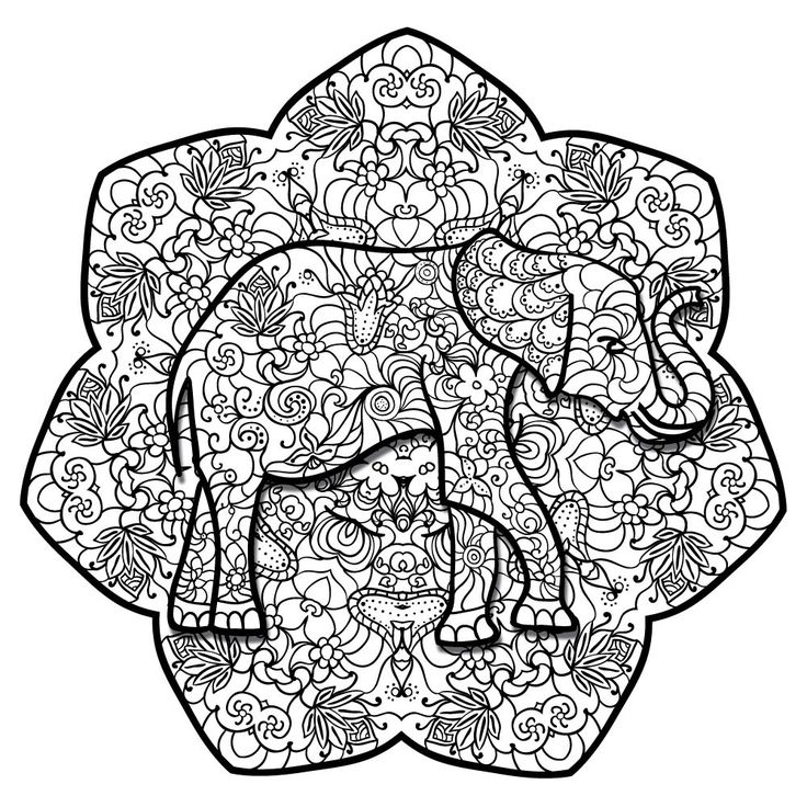 """- Product: ColorMe Decal, children and adult coloring activity - Design: elephant mandala with floral and Asian flair - Sizes: 8""""w x 8""""h; 15""""w x 15""""h; 24""""w x 24""""h; 36""""w x 36""""h - Intricacy level: mediu"""