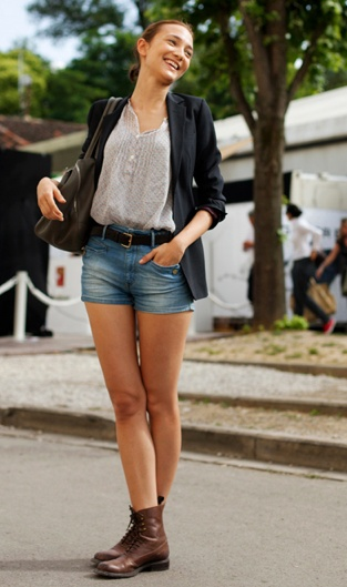 shorts with brown boots