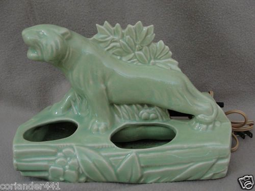 Mouse over image to zoom   Vintage McCoy Pottery Chartreuse Glaze Panther TV Lamp/Planter