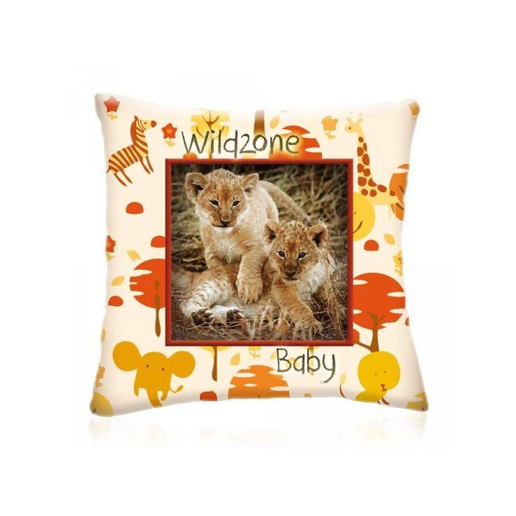WILD ZONE Baby KIS OROSZLÁNOK állatos díszpárna 28x28 cm - Díszpárna.com Webáruház