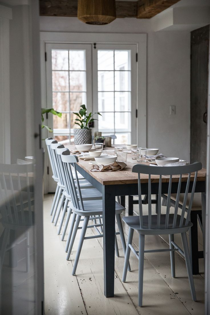 Jersey Ice Cream Co. Old Chatham House, Remodelista, dining table-Eat-in Kitchen, reclaimed wood, exposed beams, plaster, painted floors, white interiors