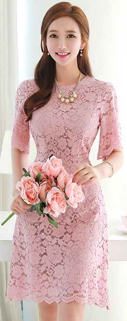 StyleOnme_Scallop Trim Romantic Floral Lace Dress #pink #lace #floral #sweet #pretty #koreanfashion #kstyle #kfashion #seoul #feminine #dress #summertrend #datelook