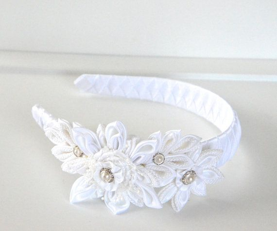 White girl headband,kanzashi headband,flower headband,1st. communion headband,hair accessories,women headband,photo prop,toddler headband. on Wanelo