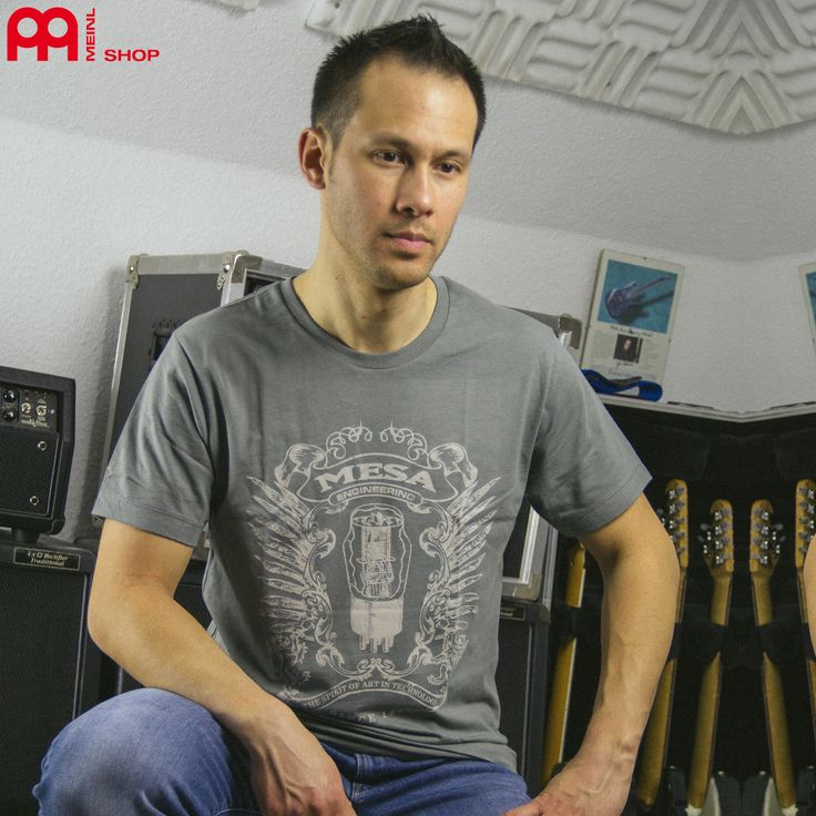 Daniel J. Fries / Guitar Player from the Band Affector is happy with his new Mesa Shirt. Shirts and other Mesa Stuff from our meinlshop.de Photo: Daniel Latsch / Rayart