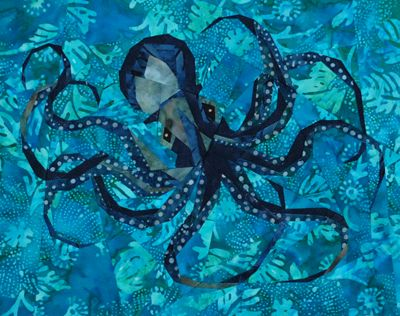 Pretty fabulous paper-pieced octopus quilt block by Linda Hibbert of Silver Linings Originals. Pattern available after the jump.