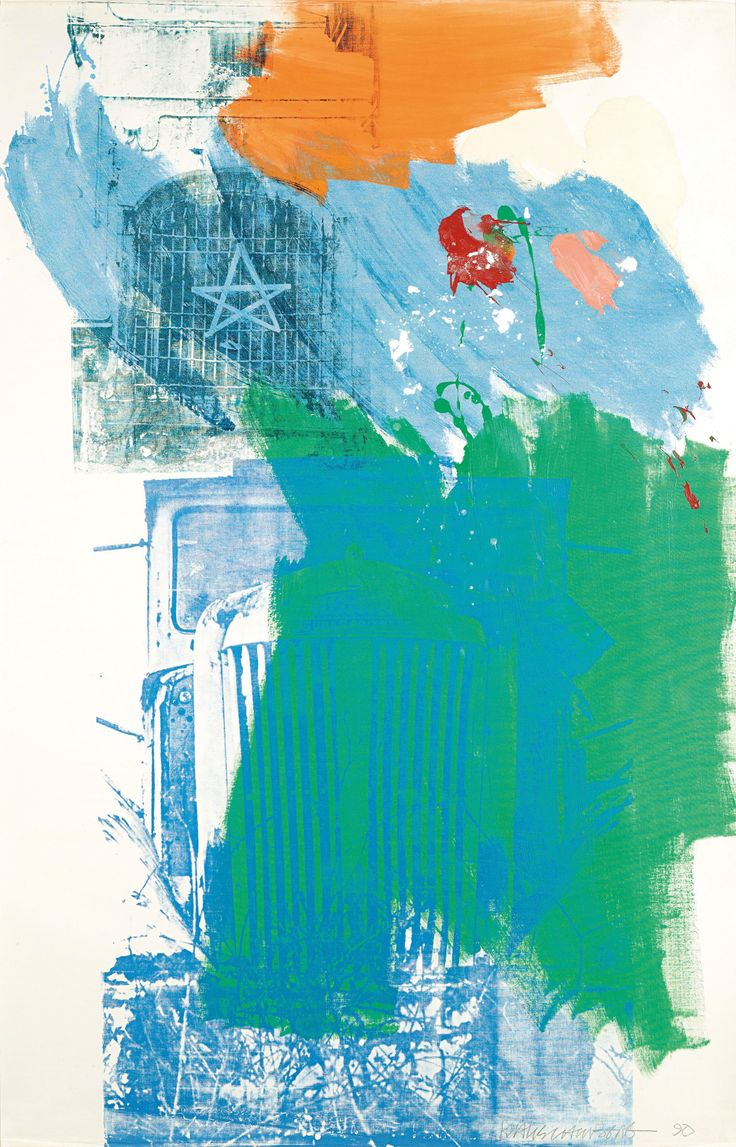 Robert Rauschenberg (American, 1925–2008), Highway King, 1990. Acrylic and enamel paint on paper laminated with fabric, laid down on panel, 163.5 x 104.1 cm.