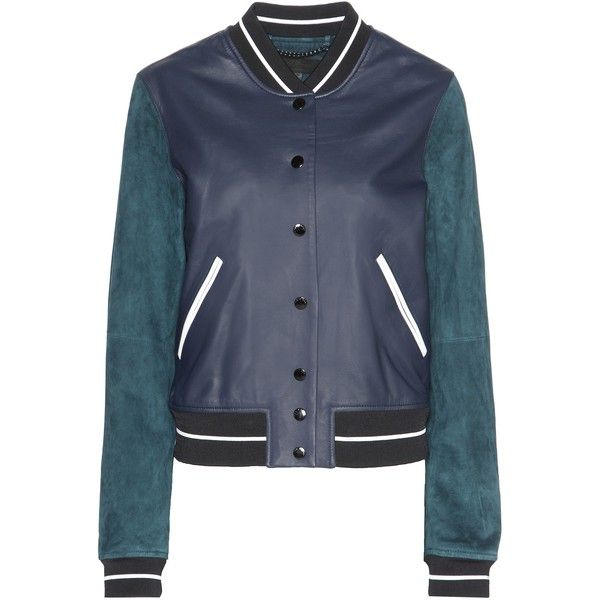 Rag & Bone Alix Leather and Suede Jacket (64,425 DOP) ❤ liked on Polyvore featuring outerwear, jackets, blue, rag bone jacket, blue jackets, suede jacket, genuine leather jackets and 100 leather jacket