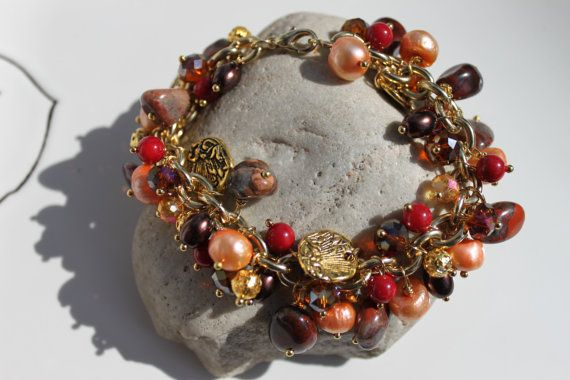 Orange and Red, Jasper Gemstone, Pearls, Fall Colors, Gold, Cluster Handmade Natural Stone Fashion Bracelet, Unique Gifts For Her, Under 50