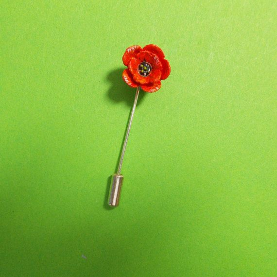 Tiny Red POPPY PIN Floral Wedding Corsage Lapel Flower