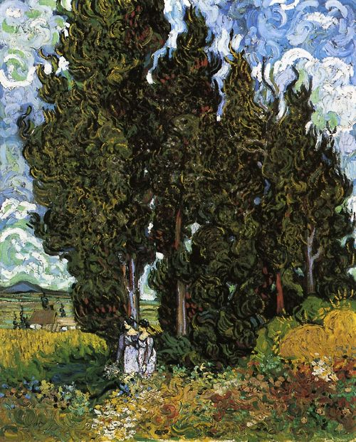 VINCENT VAN GOGH. Cypresses with Two Women, 1889, oil on canvas.