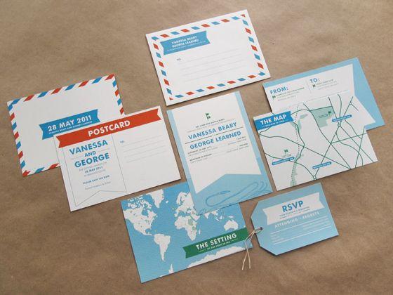 Travel Theme Wedding Ideas! Postcard Wedding InvitationModern ...