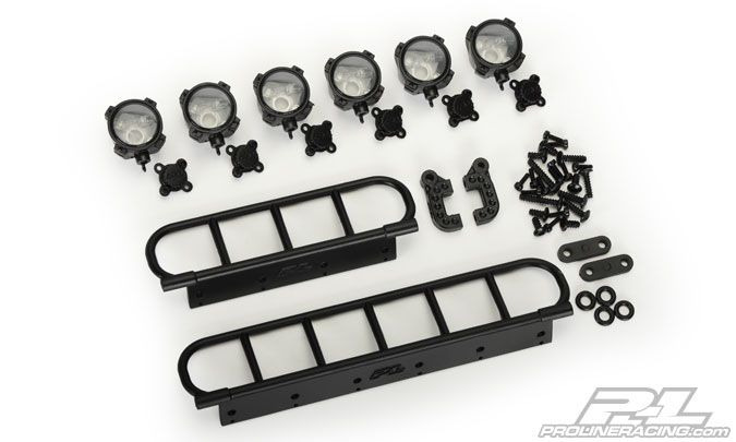 Looking for some True-scale crawling or Desert SC Off-Road Lights? #prolineracing has once again stepped-up to the plate with this latest Light bar kit. The kit gives you 6 highly detailed lights which simulate the look of today's modern High Intensity Off-Road Lights. Each kit includes all of the required mounting hardware. When you are looking for the best in Scale accessories for your Crawler or Short Course truck, Look No further than Pro-Line Racing! Mfg part number 6085-00
