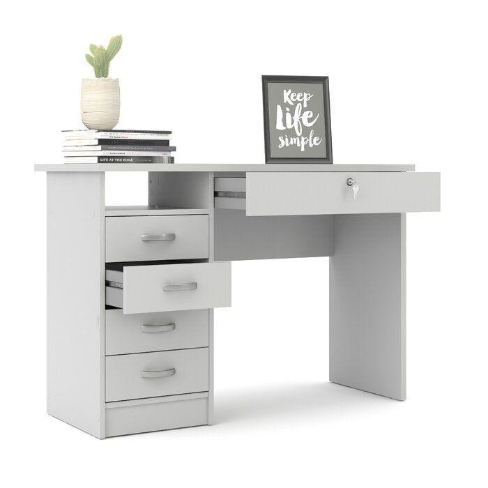 Zehr Writing Desk Small Room Desk White Desk Bedroom Grey Desk