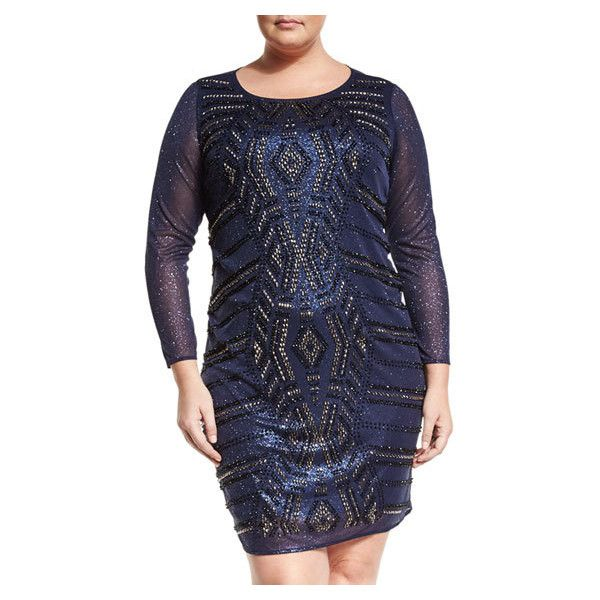 Neiman Marcus Beaded Sheath Dress, Navy, Plus Size (7,170 INR) ❤ liked on Polyvore featuring dresses, women plus size dresses, navy blue long sleeve dress, womens plus dresses, navy plus size dress and plus size long sleeve dresses