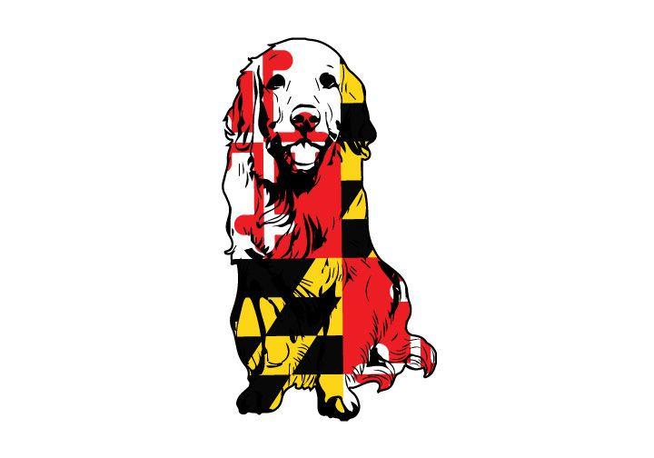 Maryland Flag Golden Retriever Vehicle Decal Golden Retriever Sticker Dog Decal Maryland Pride By Angprinti Dog Decals Maryland Flag Maryland Flag Decal