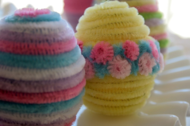 So cute! pipe cleaner eggs via Pajama Crafters: Fuzzy Easter Eggs