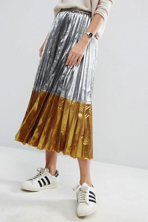 Fall Must-Have: The Two-Toned Metallic Pleated Skirt
