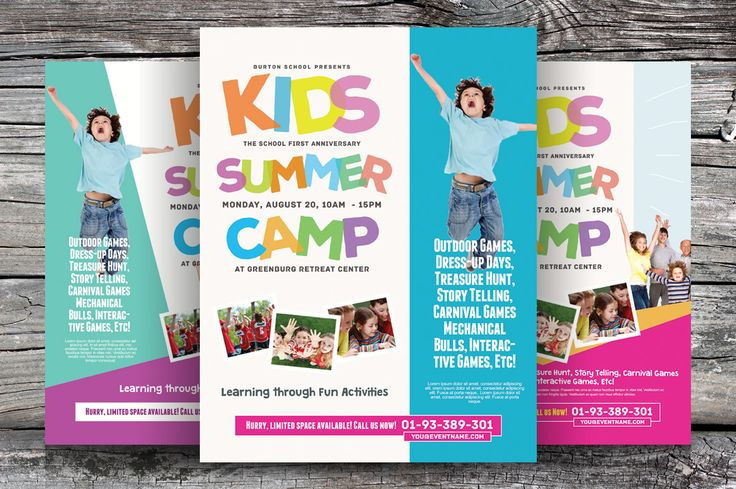 Kids Summer Camp Flyers Vol.02 by kinzi21 on Creative Market