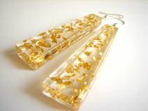 Earrings made of 24K gold flakes