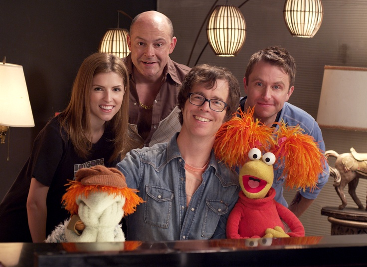 """Ben Folds, Anna Kendrick, Rob Corddry, Chris Hardwick and Fraggles on the set of """"Do It Anyway"""""""