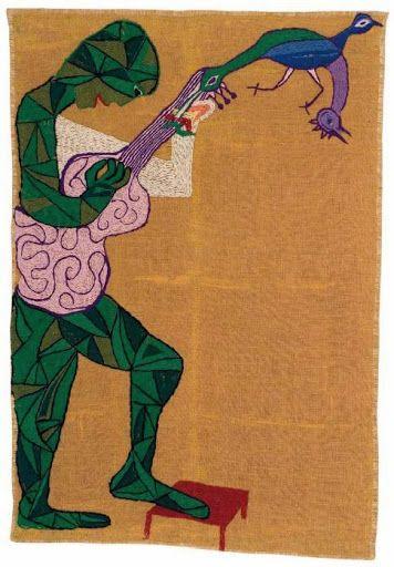 Arpillera de Violera Parra Hombre con Guitarra. 1960 134 x 89 cm. Yute bordado con lanigrafía. Fundación Violeta Parra