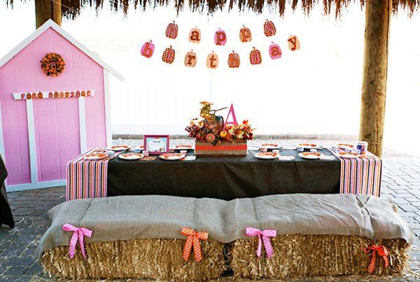 My favorite collection of ideas so far! Mini water bottles, lanterns, pumpkin banner, cookie decorating...Farm Boutique Pumpkin Patch Birthday