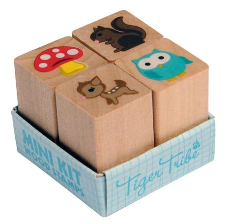 Tiger Tribe Mini Kit Wood - Forest    Price: $7.95      These Mini Kits have four little wooden stamps in a pack. Too cute to resist!    Ink pads sold separately.    http://www.littlebooteek.com.au/Gift-Ideas/64/catlist.aspx