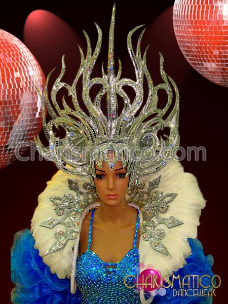 Charismatico Dancewear Store - CHARISMATICO Mirror accented silver Vegas headdress and matching white feather collar, $240.00 (http://www.charismatico-dancewear.com/products/Mirror-accented-silver-Vegas-headdress-and-matching-white-feather-collar.html)