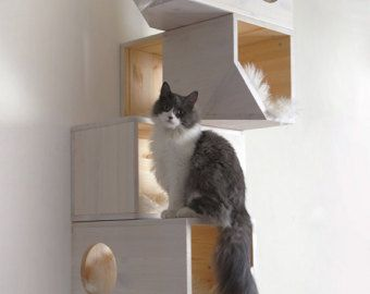 Wooden Modular Cat House от CatissaCatTrees на Etsy