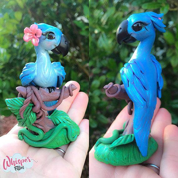 Miniature Jewel fantasy Macaw parrot figurine Bird Rio handmade polymer clay Whisper Fillies