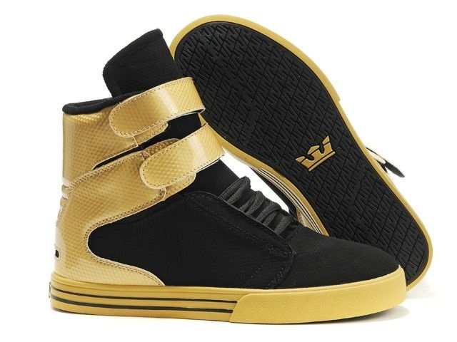 women tk society gold and black high top supra shoes