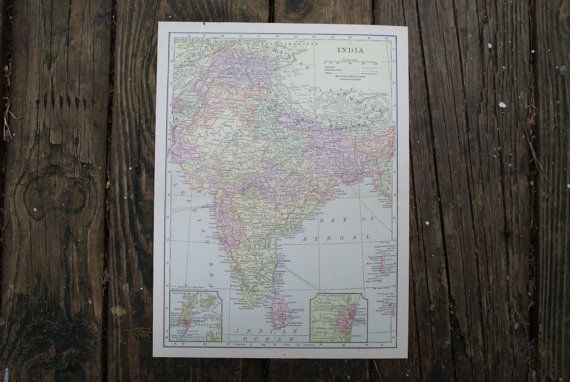 1904  India Map  Antique Encyclopedia Map  Large by TheWoodenEarth